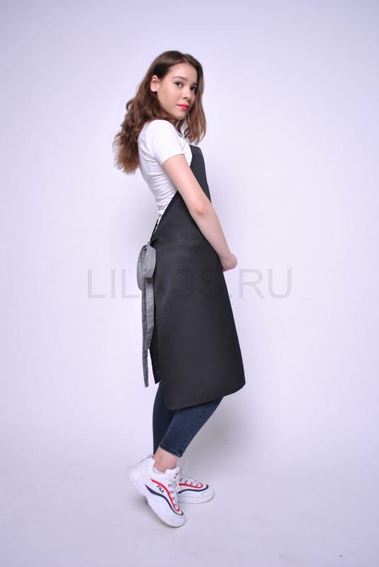 Длинный фартук Lilacs Marzipan, черно-серый