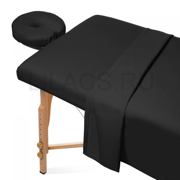 Простыня для массажного стола на резинке, черная