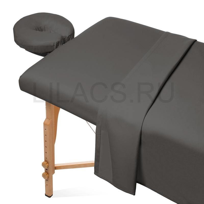 Простынь для массажного стола на резинке, графит