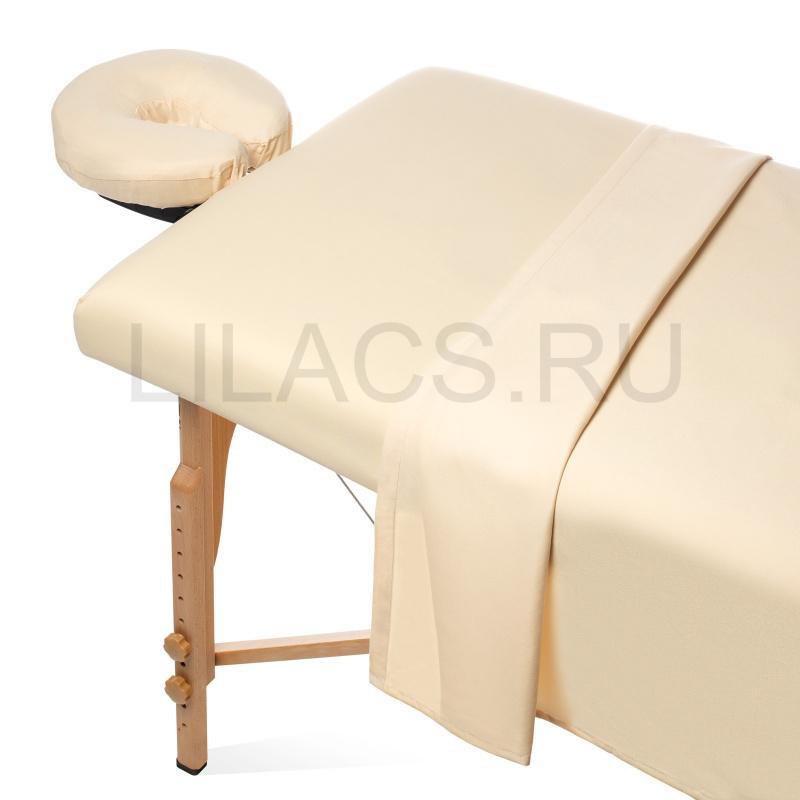 Простынь для массажного стола на резинке, бежевая