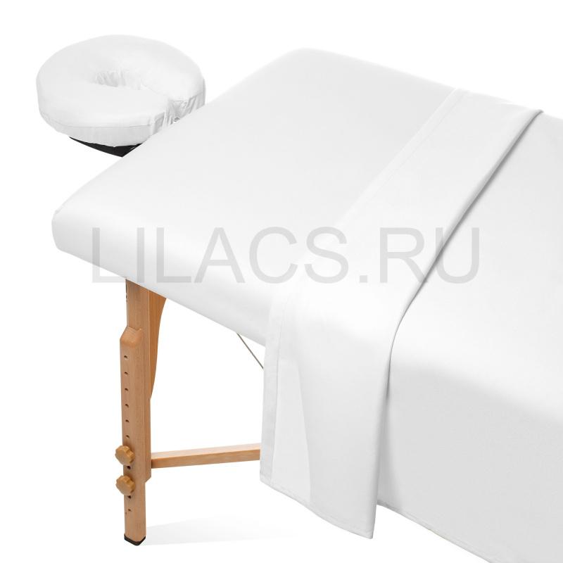 Простынь для массажного стола на резинке, белая