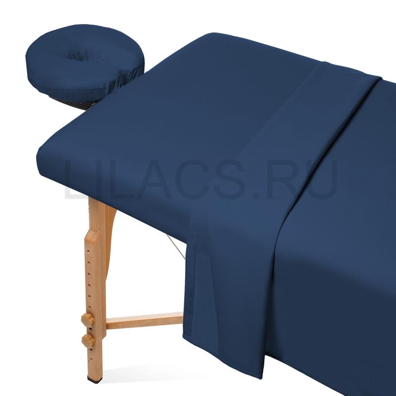 Простынь для массажного стола на резинке, синяя