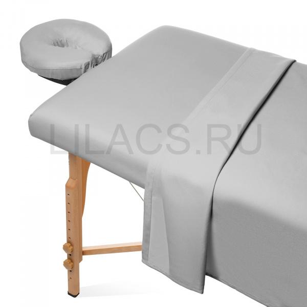 Простынь для массажного стола на резинке, серая