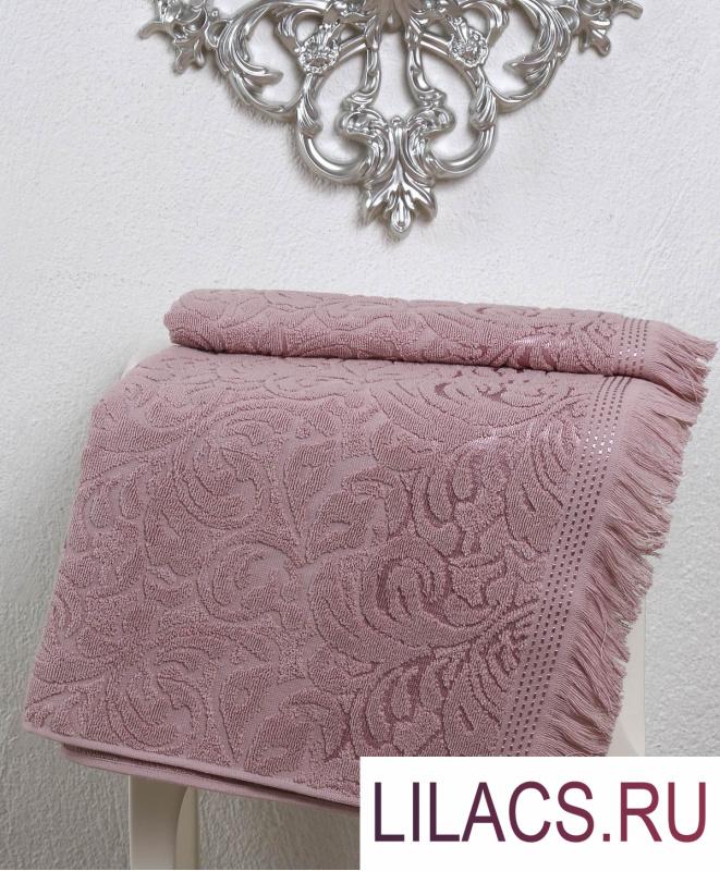 """2195 Полотенце махровое """"KARNA"""" ESRA (70x140) см 1/1 Грязно-розовый"""