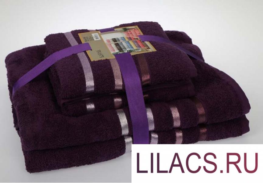953 Комплект махровых полотенец «KARNA» BALE 50х80*2-70х140*2 см 1/4 Фиолетовый