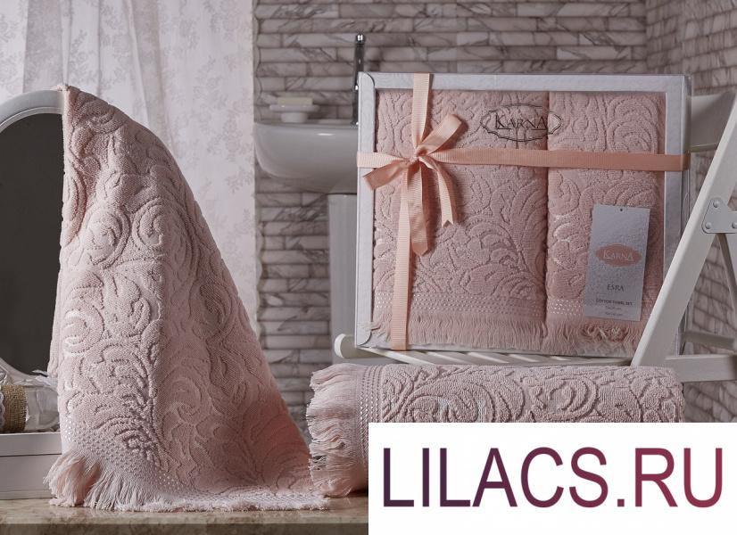 1687 Комплект махровых полотенец «KARNA» ESRA 50x90-70х140 см  Абрикосовый