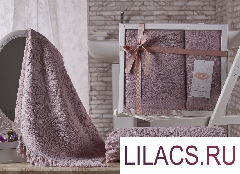 1687 Комплект махровых полотенец «KARNA» ESRA 50x90-70х140 см  Грязно-розовый