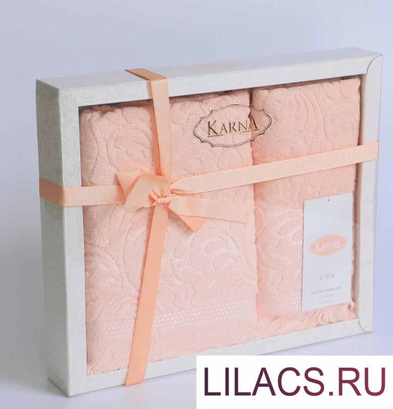 """1687 Комплект махровых полотенец """"KARNA"""" ESRA 50x90-70х140 см  Розовый"""