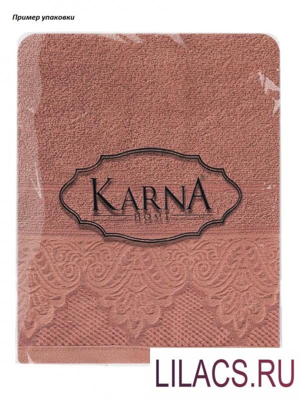 "3572 Полотенце махровое ""KARNA"" жаккард SIESTA 40x60 1/1 Кирпичный"