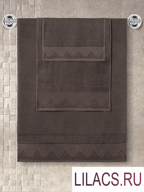 "3571 Полотенце махровое ""KARNA"" жаккард SIESTA (70x140) см 1/1 Коричневый"