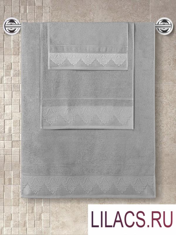 """3570 Полотенце махровое """"KARNA"""" жаккард SIESTA (50x90) см 1/1 Серый"""