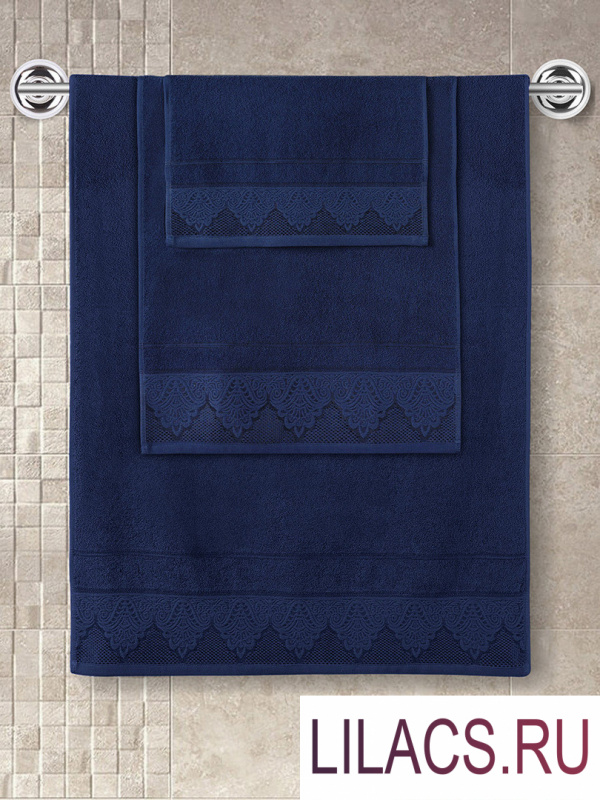 """3570 Полотенце махровое """"KARNA"""" жаккард SIESTA (50x90) см 1/1 Синий"""