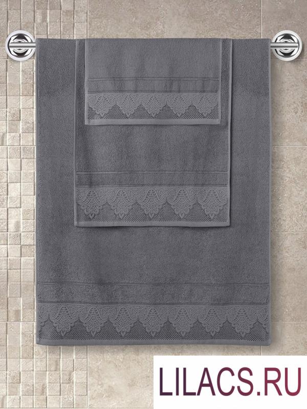 "3571 Полотенце махровое ""KARNA"" жаккард SIESTA (70x140) см 1/1 Темно-Серый"