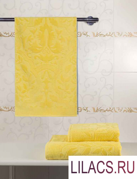 BTY-28570130Ж Полотенце велюровое «Гутен Морген» «Лимон» 70х130