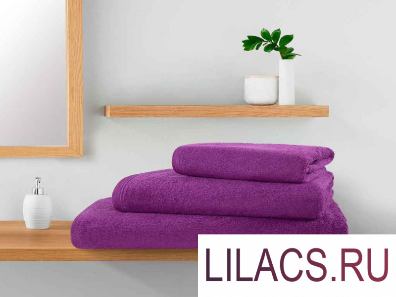 ПМЛс-100-150 Полотенце махровое Guten Morgen, цвет: Сиреневый 100х150 см 1 сорт