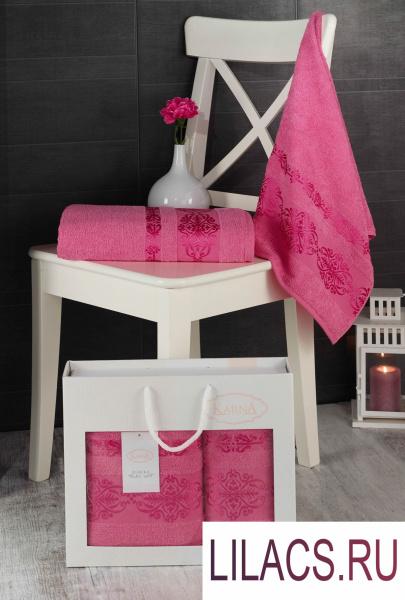 2660 Комплект махровых полотенец «KARNA» REBEKA 50x90-70х140 см 1/2 Розовый