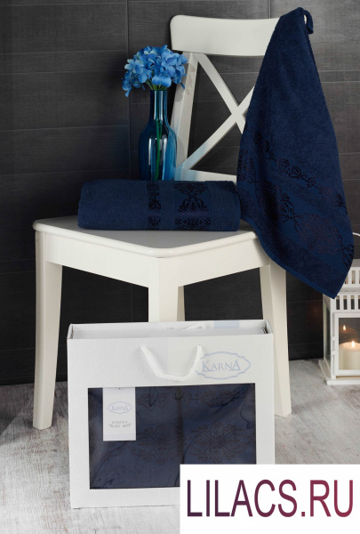 2660 Комплект махровых полотенец «KARNA» REBEKA 50x90-70х140 см 1/2 Синий
