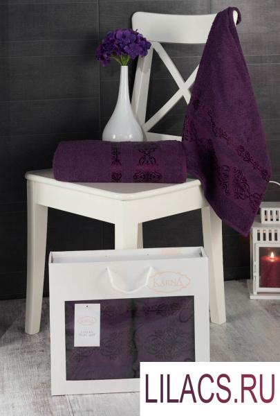 2660 Комплект махровых полотенец «KARNA» REBEKA 50x90-70х140 см 1/2 Фиолетовый