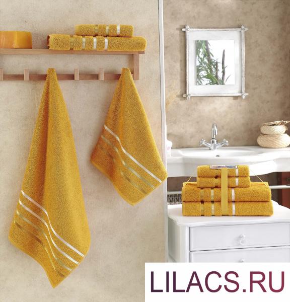 953 Комплект махровых полотенец «KARNA» BALE 50х80*2-70х140*2 см 1/4 Темно-Желтый