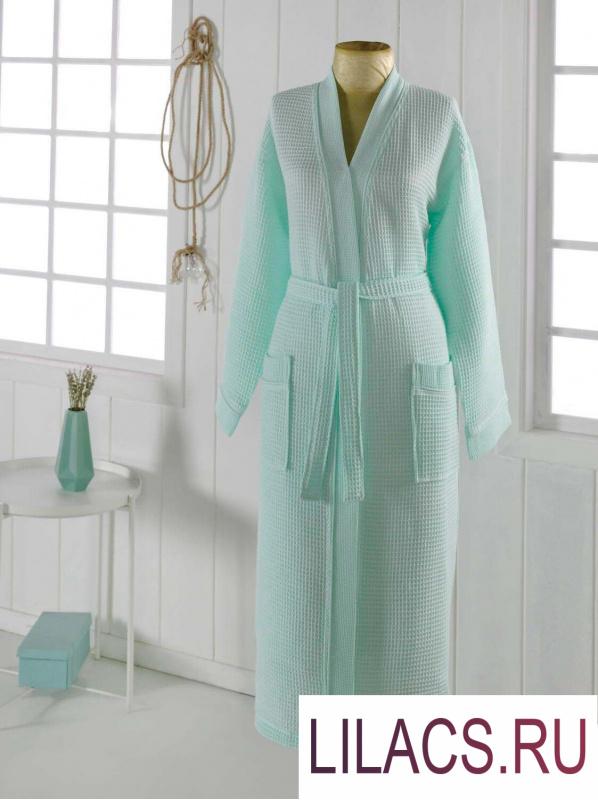 S.143м NEVA XL (ментол) Халат вафельный кимоно
