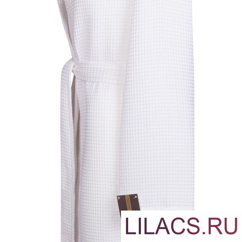 Наоми (белый) XL Халат вафельный с капюшоном